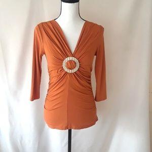 Karen Kane, Orange Retro Look Ruched Top, Fits S/M